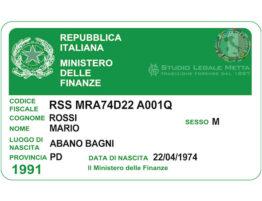Italian tax code Codice Fiscale