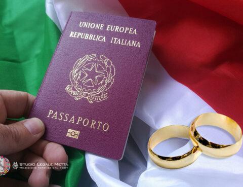 Italian passport and flag + wedding rings